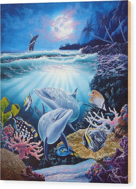 Dolphin Dream Wood Print by Daniel Bergren
