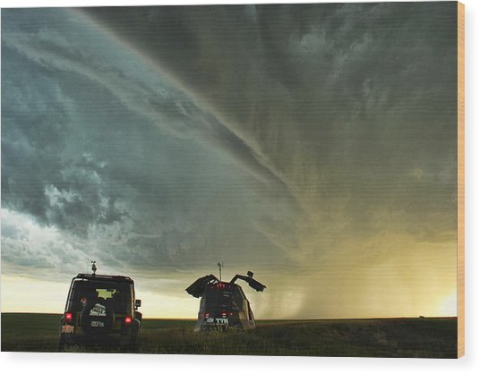 Dominating The Storm Wood Print