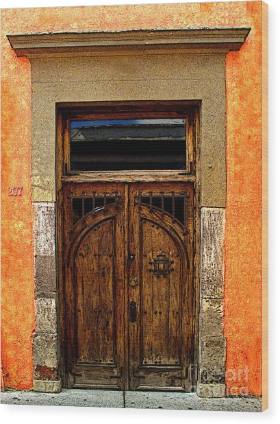 Door In Terracotta Wood Print by Mexicolors Art Photography