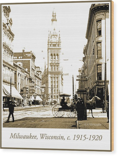 Downtown Milwaukee, C. 1915-1920, Vintage Photograph Wood Print