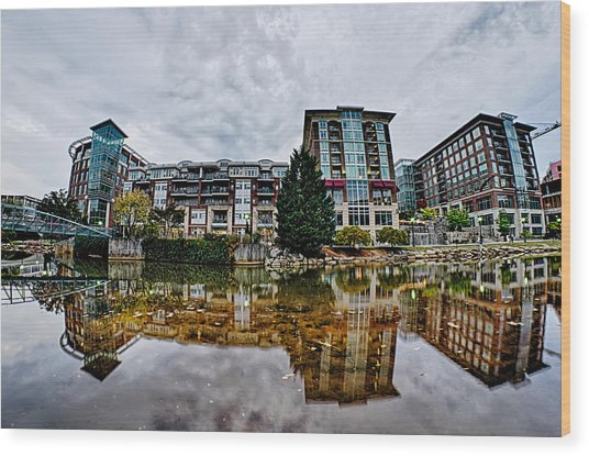 Downtown Of Greenville South Carolina Around Falls Park Wood Print