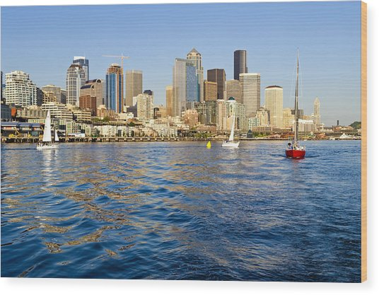 Downtown Seattle Sailing Wood Print by Tom Dowd