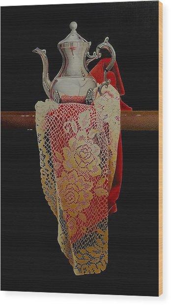 Draped Tea Service Wood Print