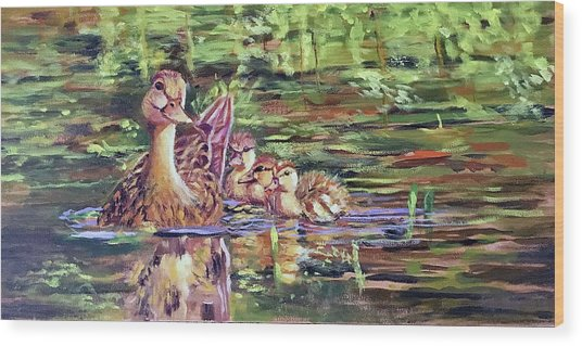Duck Family Wood Print