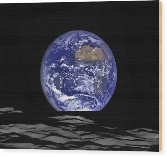 Earthrise Wood Print