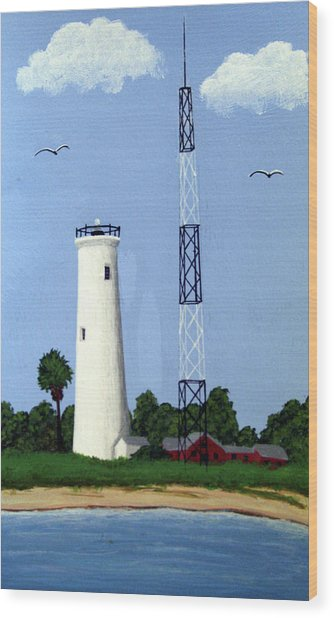 Egmont Key Lighthouse Wood Print by Frederic Kohli