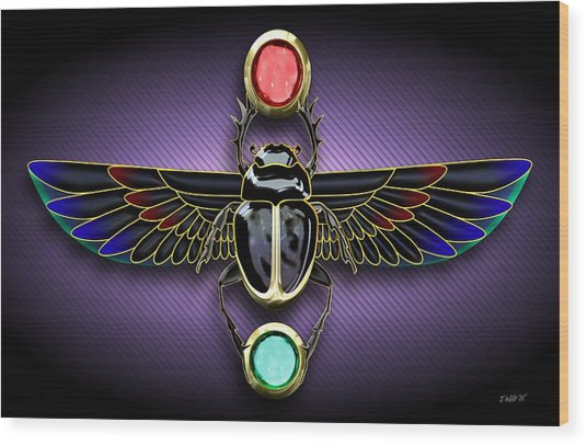 Egyptian Scarab Beetle Wood Print