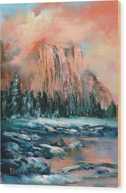 El Capitan Wood Print by Sally Seago
