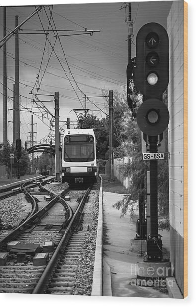 Electric Commuter Train In Bw Wood Print