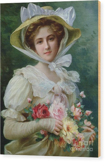 Elegant Lady With A Bouquet Of Roses Wood Print