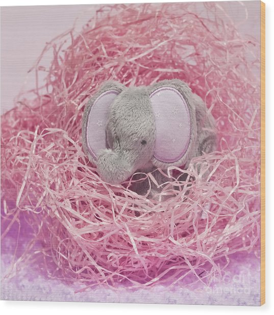 Elephant For Charity Pink Wood Print