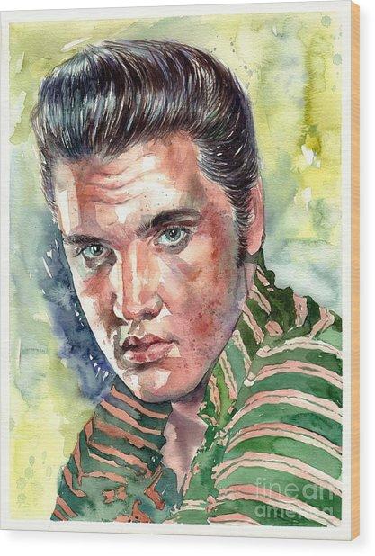 Elvis Presley Portrait Wood Print