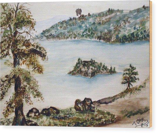 Emerald Bay Lake Tahoe Wood Print by Tammera Malicki-Wong