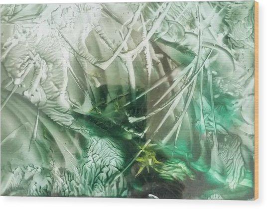 Encaustic Abstract Green Foliage Wood Print