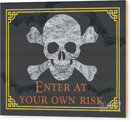 Enter At Your Own Risk  Wood Print