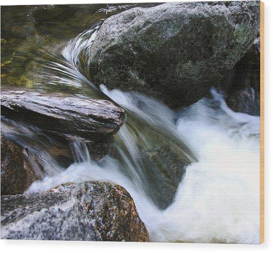 Etruded Log-end In Merced River Wood Print by D Kadah Tanaka
