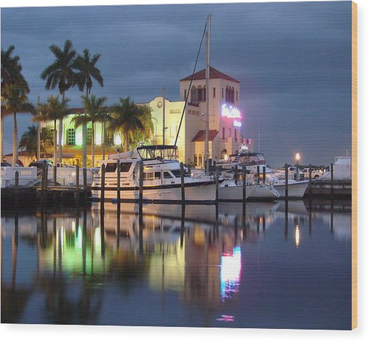 Evening At The Twin Dolphin Marina Wood Print by Kimberly Camacho