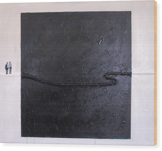 Explaining Modern Art Standing On An Elegant Line Wood Print by Kevin Callahan