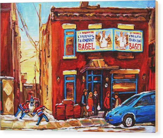 Fairmount Bagel In Winter Wood Print