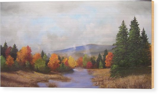 Fall Pond Scene Wood Print by Ken Ahlering