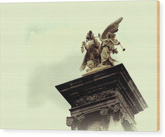 Fames Restraining Pegasus Sculpture Wood Print by JAMART Photography