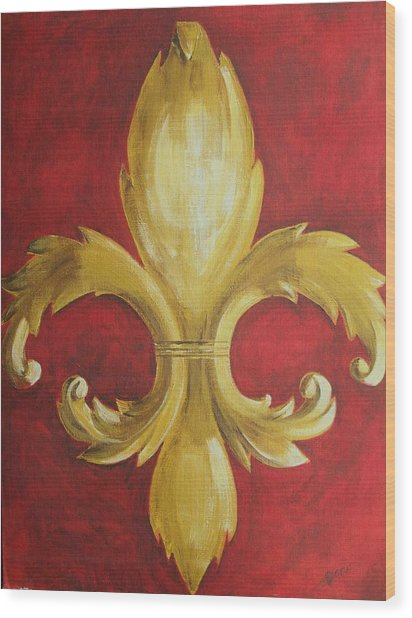 Fancy Fluer De Lis Wood Print by Dana Redfern