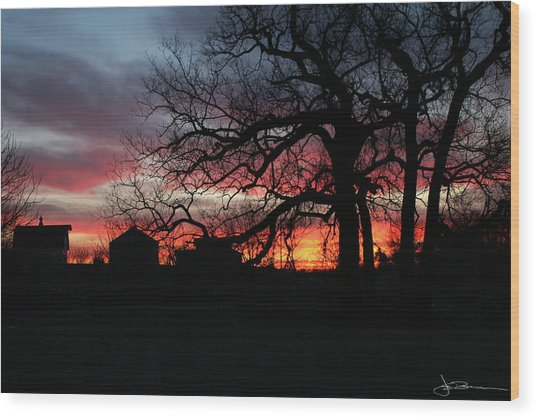 Farm Sunrise Wood Print