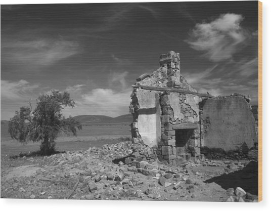 Farmhouse Cottage Ruin Flinders Ranges South Australia Wood Print by PIXELS  XPOSED Ralph A Ledergerber Photography