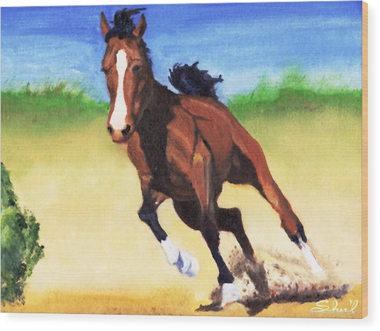 Fast Horse Wood Print