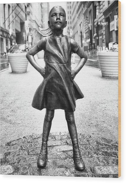 Fearless Girl Bnw Wood Print