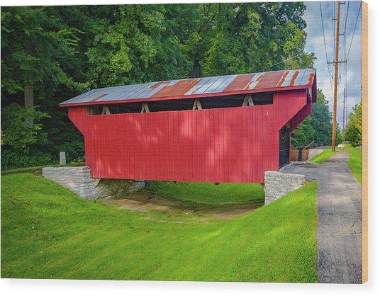 Feedwire Covered Bridge - Carillon Park Dayton Ohio Wood Print