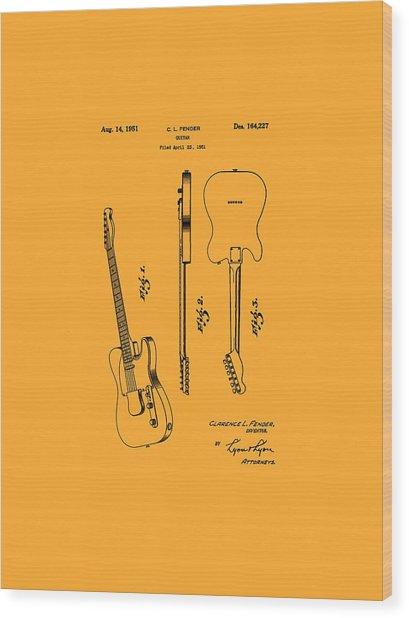 Fender 1951 Electric Guitar Patent Art - B  Wood Print