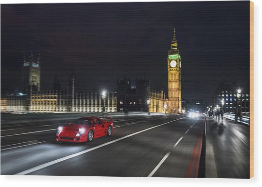Ferrari F40 London Wood Print