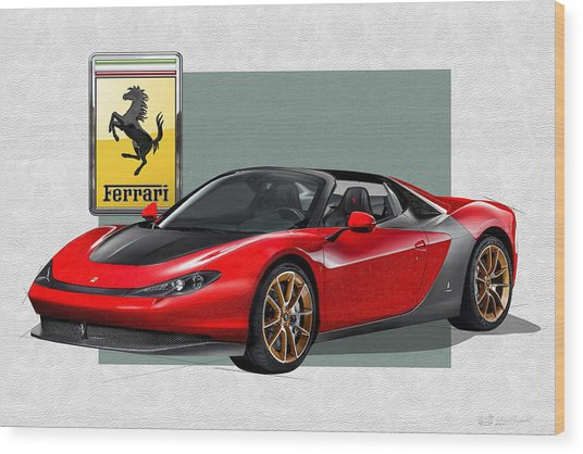 Ferrari Sergio With 3d Badge  Wood Print