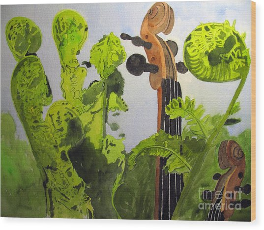 Fiddleheads Wood Print