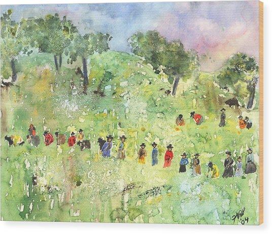 Field Workers Wood Print by Joyce Ann Burton-Sousa