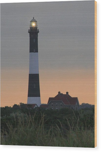 Fire Island Flash Wood Print