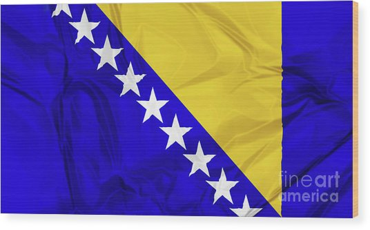 Flag Of Bosnia Wood Print