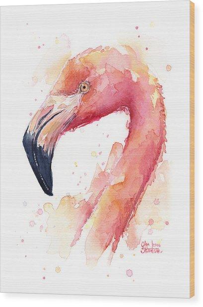 Flamingo Watercolor  Wood Print