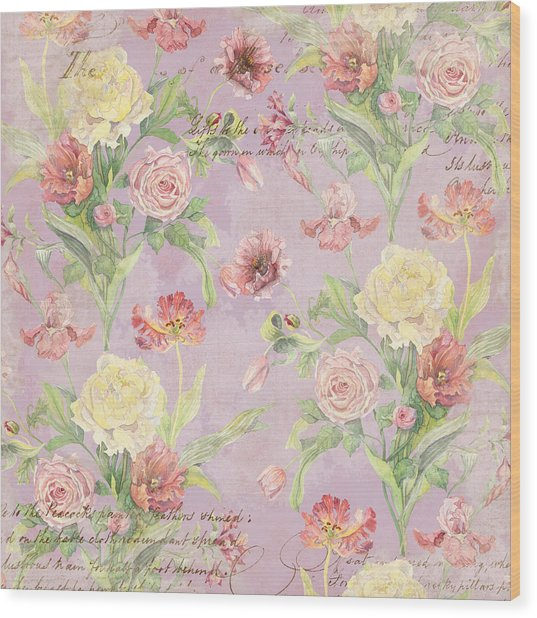 Fleurs De Pivoine - Watercolor In A French Vintage Wallpaper Style Wood Print
