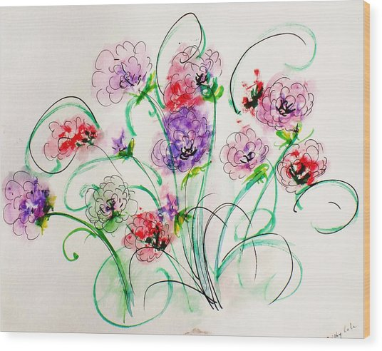 Floral Bunch Wood Print by Trilby Cole