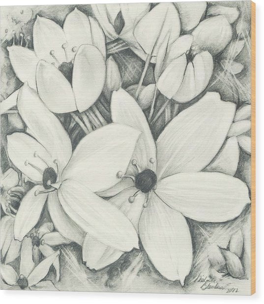 Flowers Pencil Wood Print