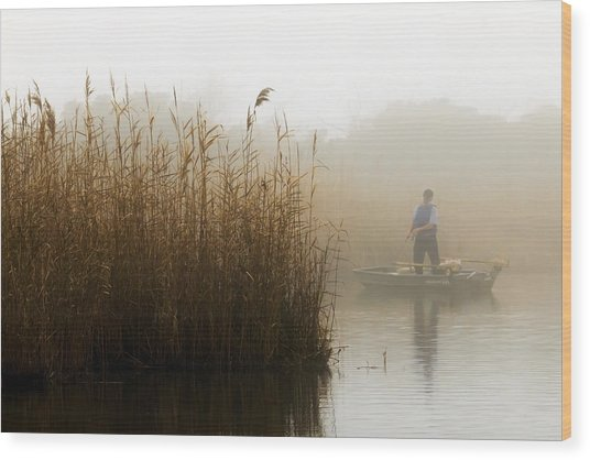 Foggy Fishing Wood Print