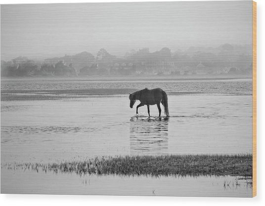Foggy Morning Crossing Wood Print