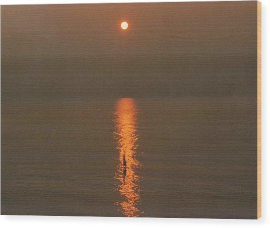 Foggy Sunrise On Virginia Beach Wood Print