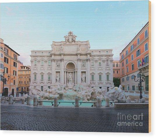 Fountain Di Trevi And Sunrise, Rome Wood Print