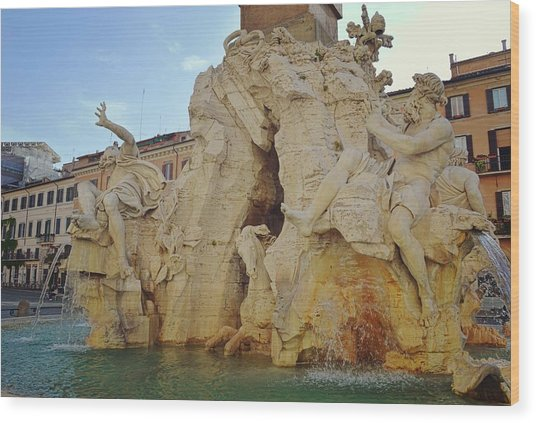 Four Rivers Fountain Wood Print by JAMART Photography