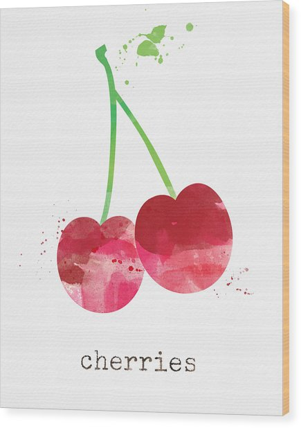 Fresh Cherries Wood Print