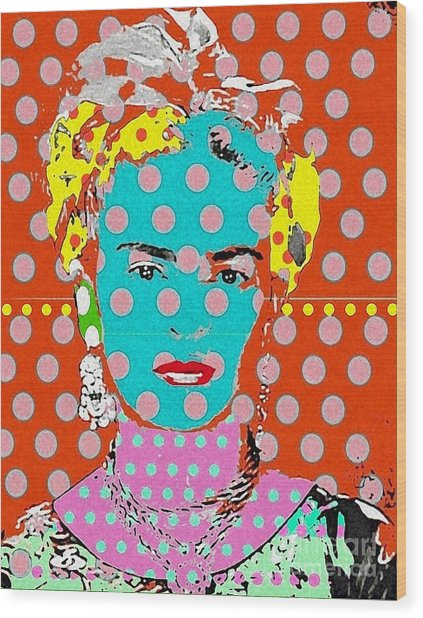 Frida Wood Print by Ricky Sencion
