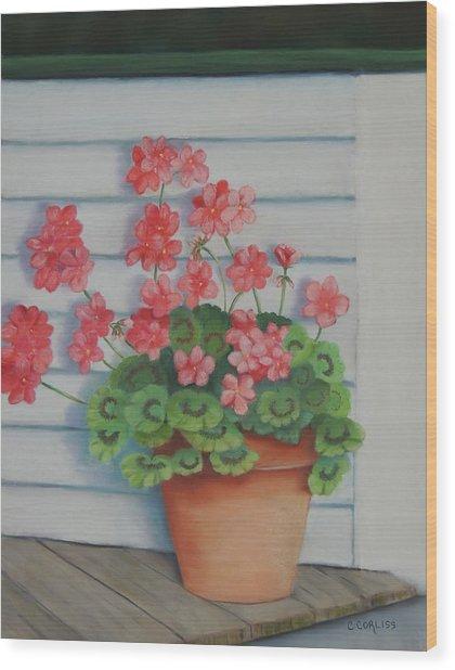 Front Porch Geraniums Wood Print
